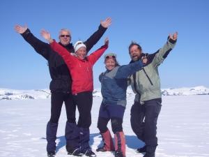 Alle fire på toppen av Høgste Breakul