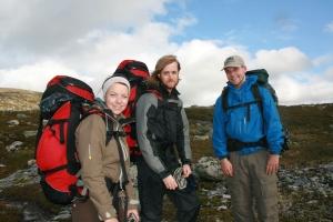 Ragnhild, Henning og Erling rett før leir lørdag, foto Marie B A
