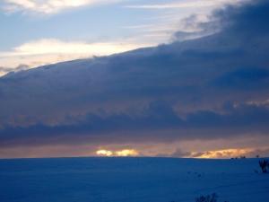Solnedgang på vidda etter 4 mils forflytning.