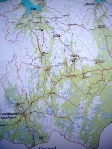 Kart over scooterledene på Finnmarksvidda (de røde strekene)