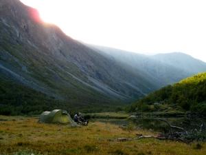 Teltplassen vår ved Fegran i Grøvudalen