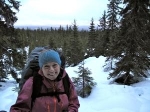 Utsikt utover Finnskogen på veg opp til det 641 meter høye Smalberget
